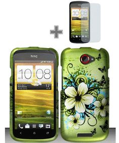 JASMINE GREEN HARD COVER PROTECTIVE CASE PHONE COVER+FILM GUARD for HTC ONE S