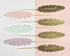 Feather Cupcake Toppers | Dessert Picks | Boho Donut Topper | Bohemian Themed Pick | Decorations | Feathers | Tribal Party Decor
