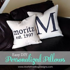 Simple step-by-step directions to make your own Pottery Barn inspired personalized pillows.