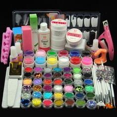 Coscelia 42 Acrylic Powder Glitter 12 Color UV Gel Nail Art Glue Polish Tips Kit