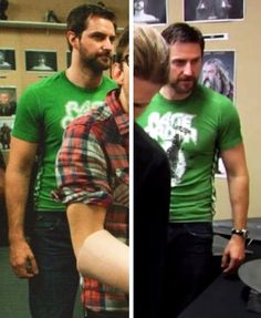 Can't quite make out what his shirt says, but it's cute! I love a guy in graphic T's, wish he'd wear them more. ❤❤❤