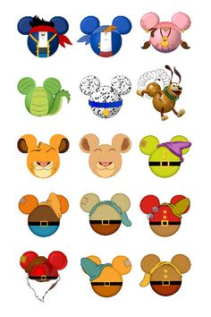 Various Disney character inspired Mickey head by SwirlyColorPixels, $1.50