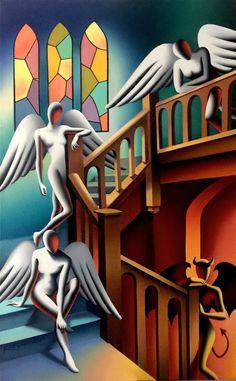 Decades after Art Stardom, Painter Mark Kostabi Is Still Hustling Abstract Painting Techniques, Painting & Drawing, Images Pop Art, Mark Kostabi, Gallery Of Modern Art, Scary Art, Surrealism Painting, Hippie Art, Environmental Art