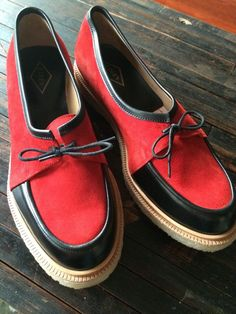 Adieu Lace UP Loafers RED Suede Black Mens 12 45 NEW $600 Opening Ceremony YSL | eBay