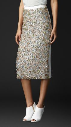 Gem-Embroidered Pencil Skirt | Burberry