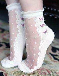 SWISS DOT SOCKS - Frilly Sheer Rosebud Ankle Socks