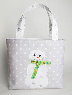 Sac cabas bonhomme de neige, gris et blanc, à pois et étoiles : Sacs enfants par mllekameleon