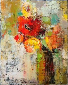 This contemporary abstract painting subtly depicts a bunch of flowers in a vase. Vibrant in color, this painting exudes warmth and powerful energies with red, yellow, beige. Floral Wall Art, Arte Floral, Abstract Canvas Art, Painting Abstract, Abstract Flower Paintings, Abstract Portrait, Portrait Paintings, Acrylic Paintings, Acrylic Art