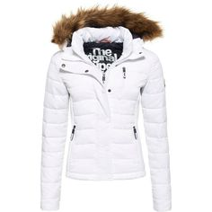 Superdry Fuji Slim Double Zip Hooded Jacket ($115) ❤ liked on Polyvore featuring outerwear, jackets, white, women, superdry jacket, hooded zip jacket, logo jackets, white zipper jacket and zipper jacket