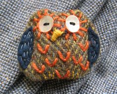 Lisa Toppin/Agnesandcora - owl brooch made from recycled Harris tweed