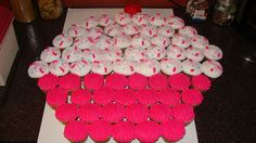 66 cupcakes that make up one big cupcake, this was for a little girls cupcake birthday party.