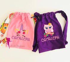 Owl embroidered backpack, Owl lover bag, Owl drawstring bag, Custom bag for girl, Party gift Owl Applique, Applique Designs, Ballet Class, Drawstring Bags, Kids Bags, Custom Bags, Kids Backpacks, Kid Names, Gift For Lover
