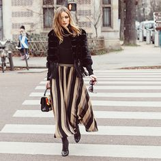 OP gives bold stripes a fresh sophisticated look for winter in Paris.