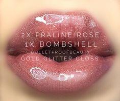Praline Rose LipSense, Bombshell LipSense, Gold Glitter Gloss. Everyday lip color. Pink lips. Nude lips. Spring makeup 2018.
