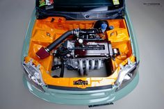 Sweet engine bay; check out the tucked A/C lines and