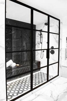 Polished black marble shower bench - Modern - Bathroom - House n bedroo . - Polished black marble shower bench – Modern – Bathroom – House n bedrooms – - Black Marble Tile, Black Marble Bathroom, Black And White Marble, Marble Wall, Marble Floor, Wall Tiles, Black Tile Bathrooms, Modern Vintage Bathroom, Marble Showers