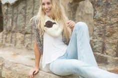 Ivory Crochet Infinity Scarf Indie & Bohemian Accessories with Velvet Ribbon and Knitted Flower Women's Boho Scarf