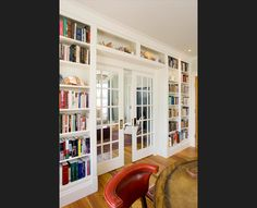 built in bookcases with french doors