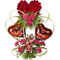 Fall in Love - Beautiful designer arrangement of Red Roses and Carnations along with Lily decorated with designer round ribbon and Balloons in a basket.