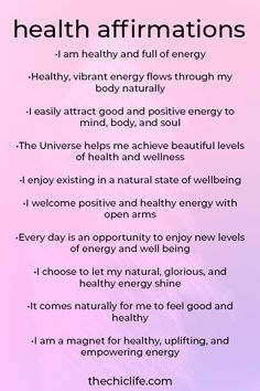 health affirmations positive \ health affirmations , health affirmations positive , health affirmations for family , health affirmations spirituality Daily Positive Affirmations, Positive Affirmations Quotes, Morning Affirmations, Affirmation Quotes, Positive Vibes, Healthy Affirmations, Affirmations For Love, Positive Energy Quotes, Morning Positive Thoughts