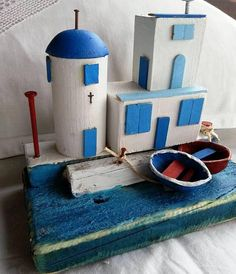 Greece Houses /Santorini Cottage/Chapel/Home Decor/Mykonos