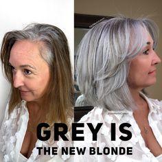 Silverhair Greyhair Grayhair Hair H - Hair Beauty Long Gray Hair, Silver Grey Hair, Curly Gray Hair, Bronze Hair, Purple Hair, Silver Color, Black Hair, Color Black, Grey Hair Transformation