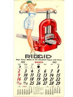 "RIDGID Calendar: March 1952.    In the early 50's famed artist George Petty drew and airbrushed the pin-up girls for RIDGID Tools popular calendars.   George Petty was one of the top ""cheesecake"" illustrators of the 30s and 40s. His work coined the term ""Petty Girls"" to describe the carefully airbrushed girls with brilliant smiles and sexy poses."