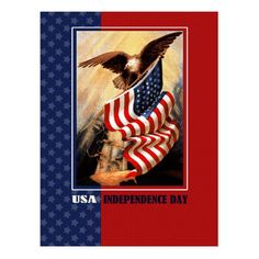 Happy 4th of July. Vintage design Independence Day Postcards. Matching cards, postage stamps and other products available in the Holidays / 4th of July Category of the oldandclassic store at zazzle.com