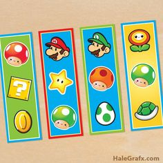 Encourage reading and for party giveways. Prints 4 bookmarks with Mario, Luigi and game items. Super Mario Party, Super Mario Bros, Super Mario Birthday, Mario Birthday Party, Birthday Party Favors, 7th Birthday, Birthday Ideas, Happy Birthday, Birthday Parties