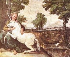 Una fanciulla con l'unicorno è il soggetto dell'affresco realizzato dal Domenichino (Palazzo Farnese, Roma)