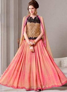 Peach Shibori Print Georgette Mirror Work Designer Anarkali  Salwar Kameez http://www.angelnx.com/Salwar-Kameez/Anarkali-Suits