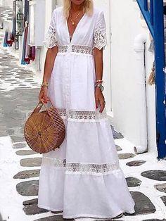 Material: Polyester Silhouette: A-Line Dress Length: Floor-Length Sleeve Length: Short Sleeve Neckline: V-Neck Waist Line:. Cheap Dresses, Casual Dresses, Floral Dresses, Elegant Dresses, Classic Dresses, Sexy Dresses, Vestidos Color Blanco, Floryday Vestidos, Plain Dress