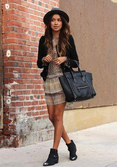 Dress: Funktional  |  Jacket: H & M  |  Boots: Pamela Love x Nine West  |  Hat: Janessa Leone  |  Bag: Celine