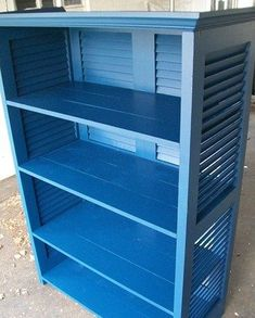 Shutter bookshelf DIY via my repurposed life