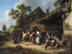 'Peasants Carousing and Dancing outside an Inn' by Adriaen van Ostade, 1660 #art