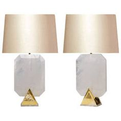 Pair of Carved Rock Crystal Quartz Lamps
