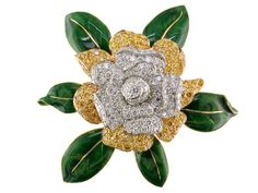 Gardenia brooch in platinum and 18k gold with 4.11 ct. t.w. colorless and 3.96 cts. t.w. yellow diamonds, $112,500; Oscar Heyman
