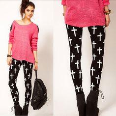 New Fashion Personality Women Ladies Black Cross Print Full Length Skinny Leggings Pants Plus Size Free Drop Shipping HB5234