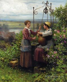 Daniel Ridgway Knight,The Conversation oil painting reproductions for sale