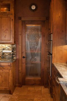 Butler Pantry Design | ... | wheat engraved glass for the pantry door | Bayer Built Woodworks