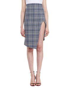 OFF-WHITE Plaid Side-Slit Skirt, Blue. #off-white #cloth #