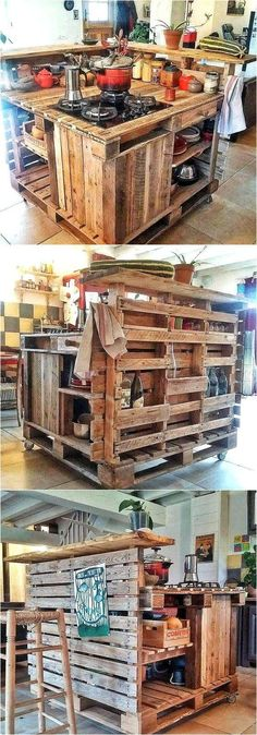 As you know, the kitchen is a place where too much storage space is required and the recycled wood pallet kitchen Island idea by Les Palettes du Coeur is a great one for those who have too many items Recycled Pallets, Recycled Wood, Wooden Pallets, Pallet Wood, Repurposed, Diy Wood Projects For Men, Diy Pallet Projects, Pallet Ideas, Into The Woods