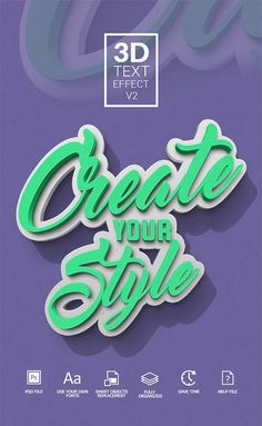 GraphicRiver Text Effect Cool Typography, Typographic Design, Typography Inspiration, Graphic Design Inspiration, 3d Text Effect, Restaurant Logo, 3d Words, Photoshop Text Effects, Text Animation