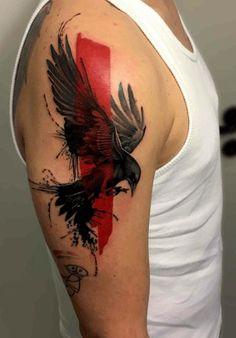 Tatouage corbeau trash polka bras: