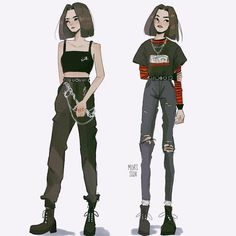 Ideas For Drawing Girl Sketches Character Design Ide. Edgy Outfits, Anime Outfits, Mode Outfits, Retro Outfits, Cartoon Art Styles, Cute Art Styles, Fashion Design Drawings, Fashion Sketches, Kleidung Design