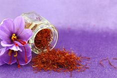 """Visit Greece   Superfoods Made in Greece  Crocus from Kozani:  The """"red gold"""", as it is referred to due to the colour of the purple flower strands, is grown in the area of Kozani. Crocus is available both in threads and in powder. Include crocus in your daily diet and profit from its impact on your health; it lowers cholesterol levels, improves digestion, prevents nausea, soothes infant teething pain, offers anti-inflammatory effects etc."""