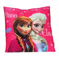 Disney Frozen kussen met een afbeelding van Anna en Elsa. Het kussen is wasbaar op 30°C. Afmetingen 35 x 35cm. - Kussen Disney Frozen