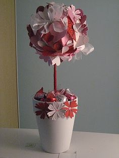 Handmade paper flower topiary use a candlestick and paper flowers paper flower topiary mightylinksfo