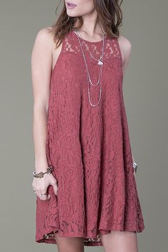 Take this fun and flirty dress out on the town. Sleeveless, stretchy lace is both comfortable and attractive. Fit and flare with zip back closure, this dusty soft red colored dress is a must have for summer and fall   Total Flirt Lace-Dress by Others Follow . Clothing - Dresses California