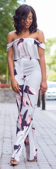 Orchid Print Palazzo Set  women fashion outfit clothing style apparel @roressclothes closet ideas